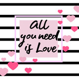 black and white striped background with hearts. Hand drawn lettering -