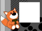 cute baby fox book picture frame background in vector format very easy to edit