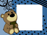 cute baby teddy bear book picture frame background in vector format very easy to edit