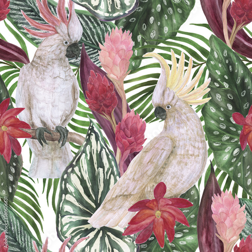 Watercolor painting seamless pattern with tropical leaves, flowers and cockatoo parrots - 180606631