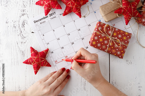 Mark the Date calendar for Christmas, December 25, with festive decorations Poster