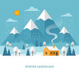 Winter landscape with house and mountains.