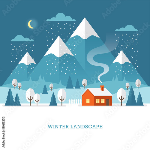 Wall mural Winter landscape with house and mountains at night.
