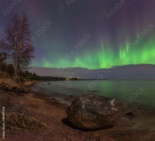 Aluminium Noorderlicht Northern lights on lake Ladoga. Leningrad oblast. Russia