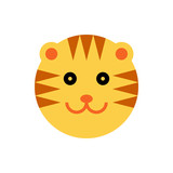 Tiger. Cartoon Animal Head