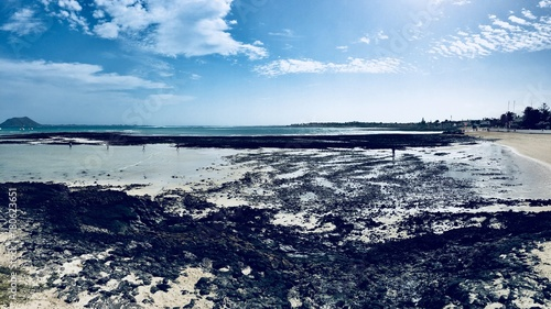 Poster Canarische Eilanden Corralejo beach in Fuerteventura, canary islands, spain