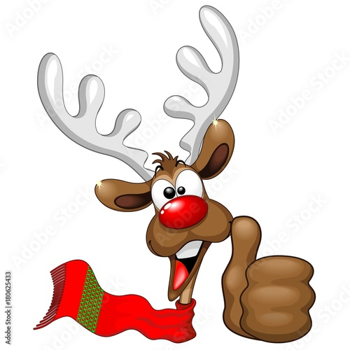 Keuken foto achterwand Draw Reindeer Cool and Happy Thumb Up Cartoon Character