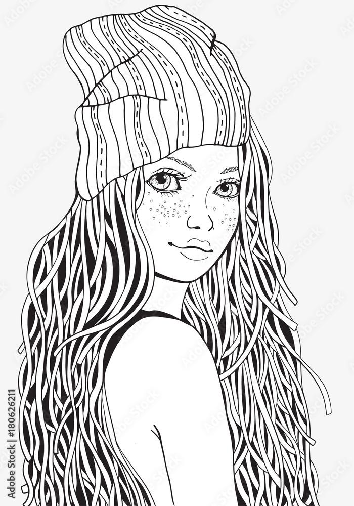 kolorowanki xxl  cute girl coloring book page for adult