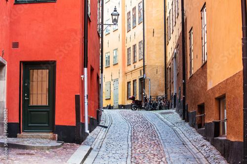 Staande foto Stockholm bicycle on the old street in Stockholm