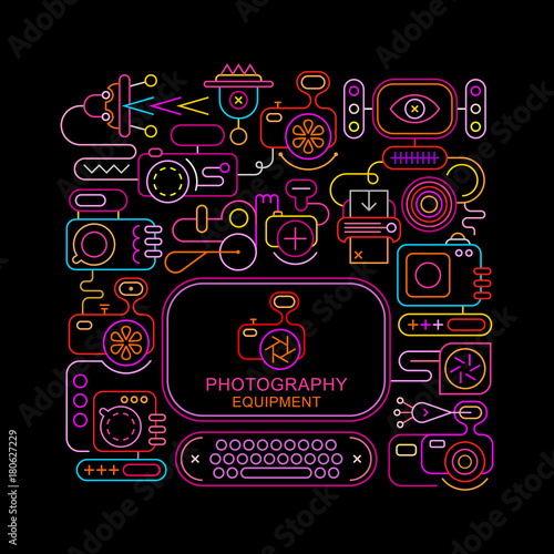 Photography Equipment neon vector banner