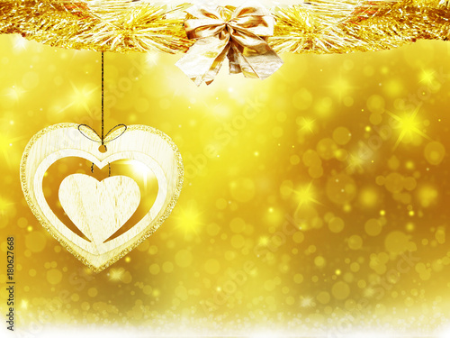 Christmas gold background circles blur decoration heart yellow texture abstract - 180627668