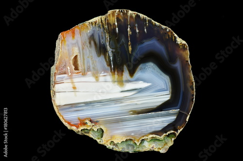 A cross section of the agate stone. Stalactite-horizontal agate. Origin: Rudno near Krakow, Poland.