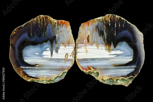 A cross section of the agate stone. Stalactite agate. Origin: Rudno near Krakow, Poland.
