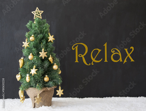 Poster Christmas Tree, Text Relax, Black Concrete
