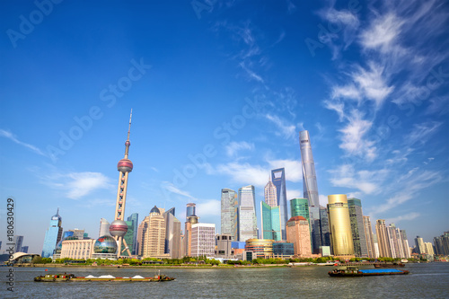 Foto op Canvas Shanghai Shanghai skyline with Huangpu River, China
