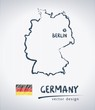 Germany vector map with flag inside isolated on a white background. Sketch chalk hand drawn illustration
