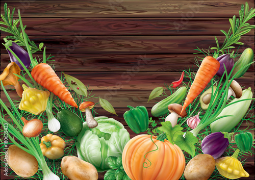 Different vegetables on a wooden background