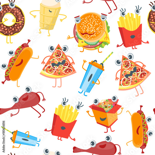 Fototapeta Cartoon Color Fast Food Characters Background Pattern. Vector