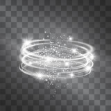 Vector silver light discs hazy effect. Cold glowing swirling storm cylinder of shining stardust sparkles on transparent background. Glittering blizzard funnel, ice cold magical illumination. - 180638032