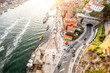 Top view on the Douro river with Ribeira region in the old town of Porto city, Portugal - 180644243