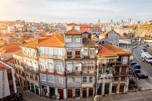 Fridge magnet CItyscape view with beautiful old buildings during the sunset light in Porto city, Portugal