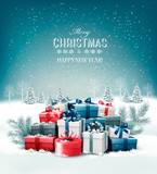 Fototapety Merry Christmas Background with branches of tree and colorful gift boxes. Vector