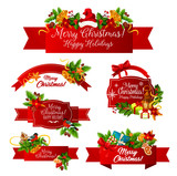 Merry Christmas wish vector greeting ribbon icons