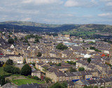 panoramic view of halifx in west yorkshire showing king cross area and pennine hills in the background - 180654661