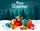 Christmas holiday greeting card with New Year gift