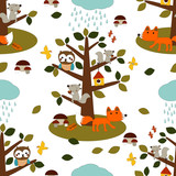 Forest friends in a rainy day , vector seamless pattern