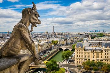 Gargoyle on Notre Dame with skyline of Paris