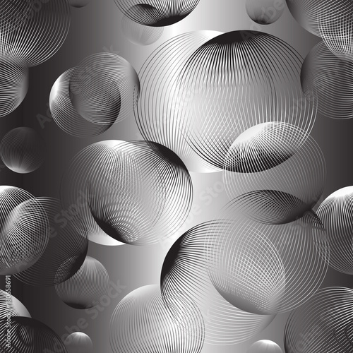 Abstract linear spheres seamless pattern. Colorful repeatable modern design with bubbles. Geometric circles background. - 180658691