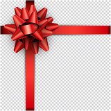 Red bow with ribbon for gift wrap. - 180658818
