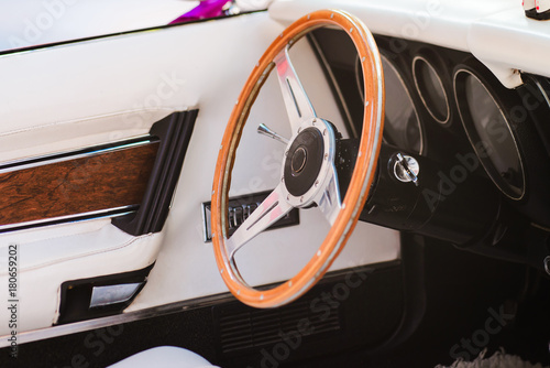 Plakat Close-up of a steering wheel of vintage car