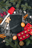 Baking ingredients and festive decor with place for text - 180660425
