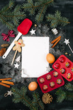 Baking ingredients and festive decor with blank for text - 180660426