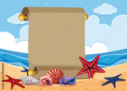 Staande foto Pool Banner template with starfish on the beach