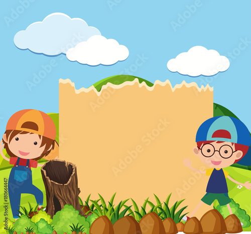 Fotobehang Pool Border template with two boys in park