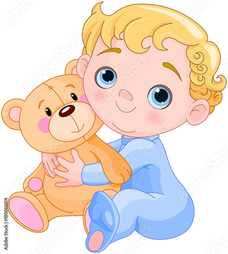 Poster Sprookjeswereld Creeping Baby & Teddy Bear