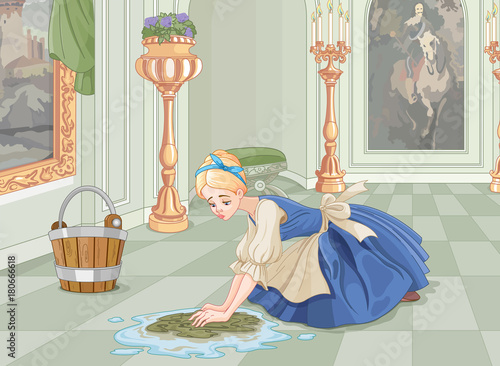 Staande foto Sprookjeswereld Sad Cinderella Cleaning