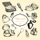 Hand drawn set of vintage womens cosmetics. Vector illustration - 180669463
