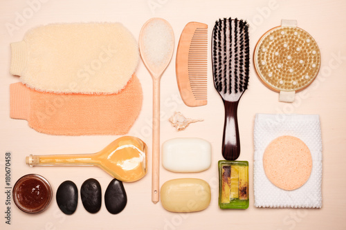 Fotobehang Spa Set for care of skin body, bath accessories
