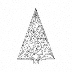 Christmas tree coloring page. Hand drawn abstract winter holidays vector illustration. Xmas background in modern style.