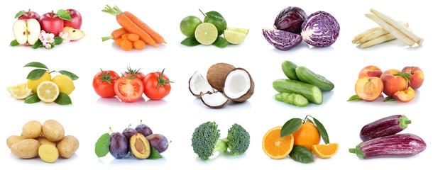 Obst und Gemüse Früchte Sammlung Äpfel, Orangen, Kartoffeln Essen Freisteller