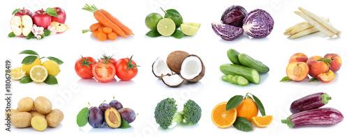 Fotobehang Verse groenten Obst und Gemüse Früchte Sammlung Äpfel, Orangen, Kartoffeln Essen Freisteller