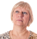 Middle aged woman portrait on white background. - 180685626