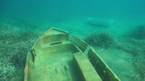 Underwater two small sunken boats on the seabed, Mediterranean sea, Catalonia, Costa Brava, Spain, 60fps