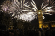 New Year's Eve Fireworks over Big Ben at Midnight, Crowds Present