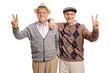 Quadro Cheerful seniors making peace signs