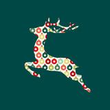 Card  Reindeer Ball Pattern Greenredorange Wall Sticker